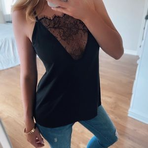 Tops - LAST!! Lace Insert Strap Back Cami Shirt